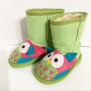 Lazy One Toasty Toez Owl Appliqué Boot Slippers